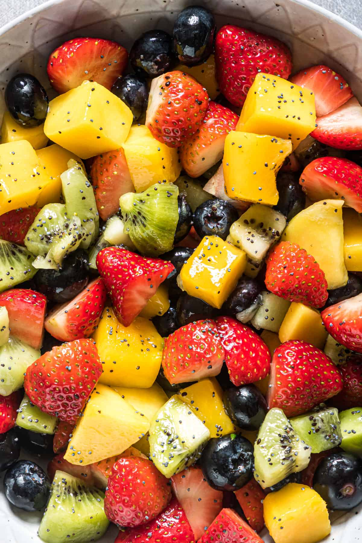 close up of the finished fruit salad