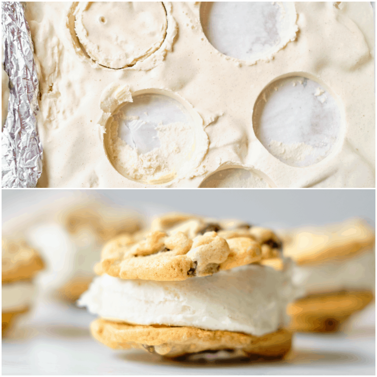 image collage showing the process for making an ice cream cookie sandwich