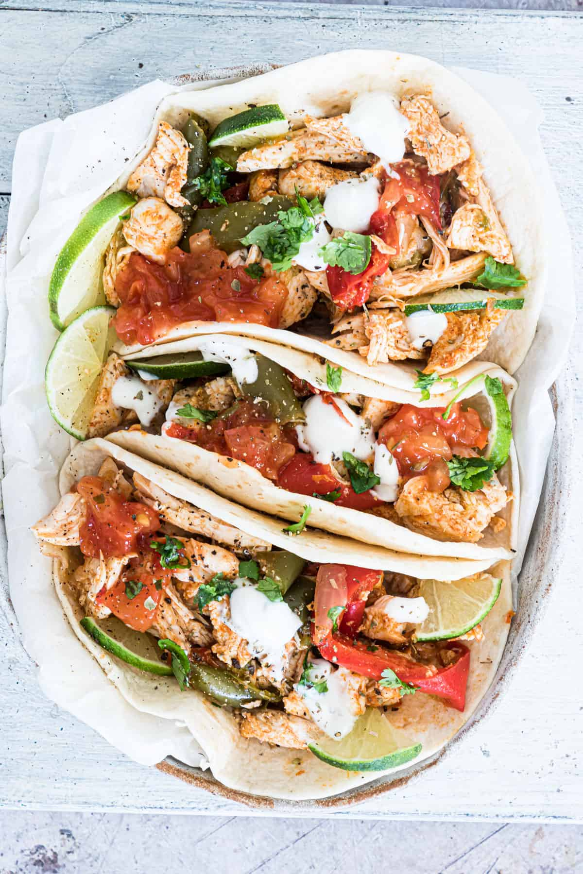 top down view of the completed instant pot chicken fajitas recipe