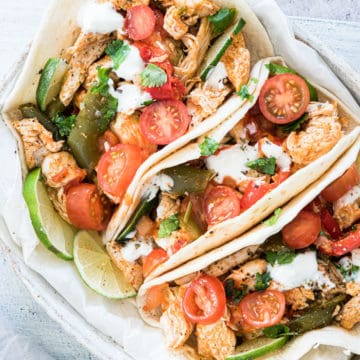 the completed chicken fajitas instant pot