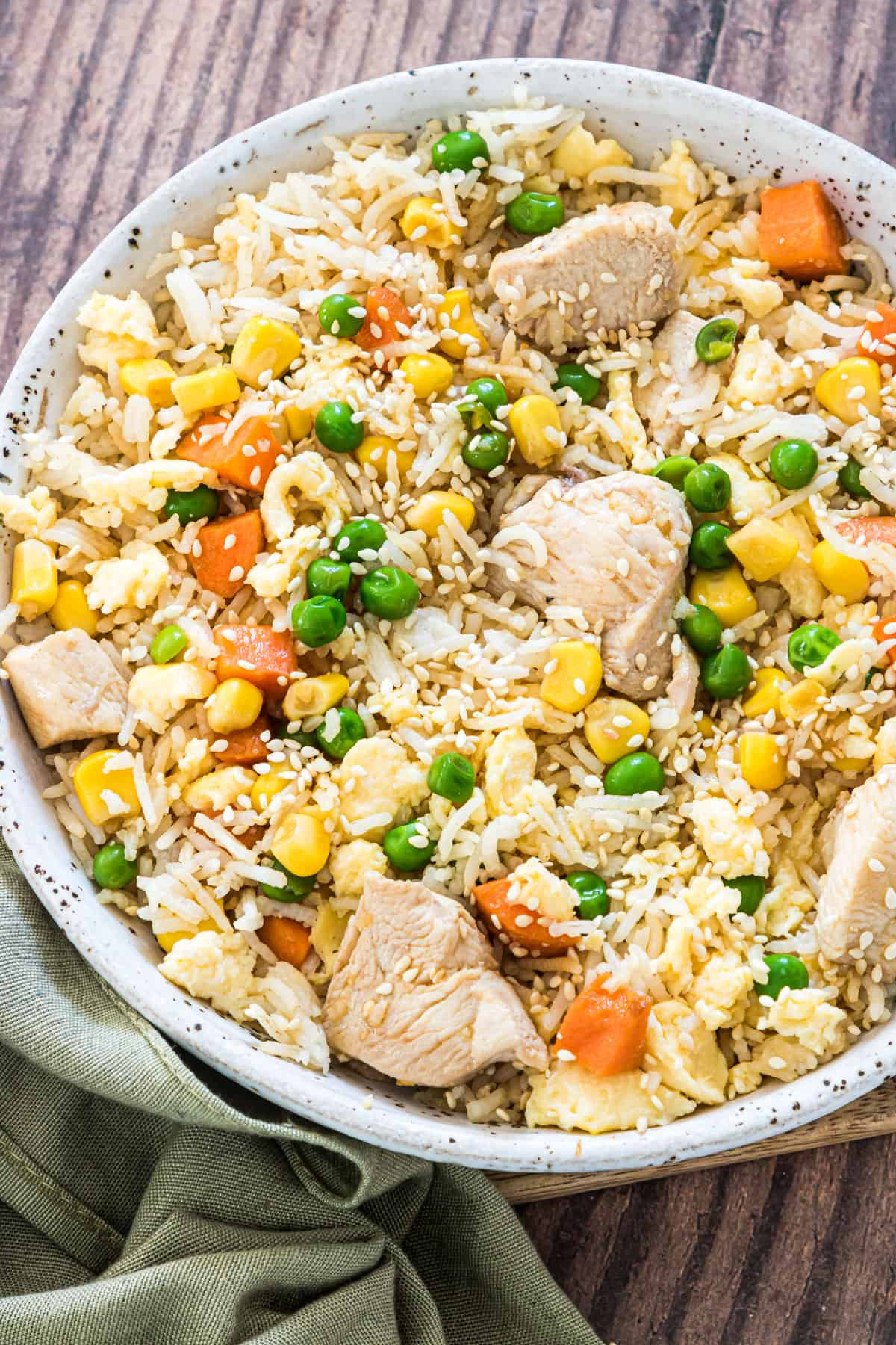close up view of the finished instant pot chicken fried rice