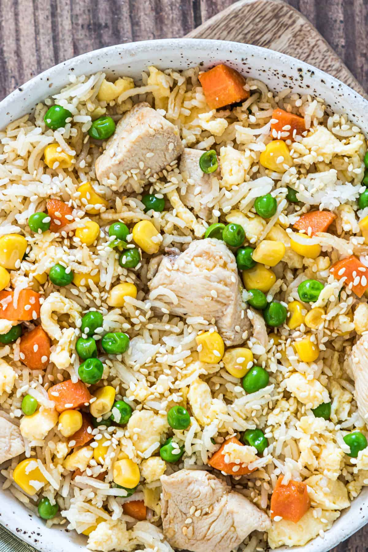 close up view of the completed instant pot chicken fried rice recipe