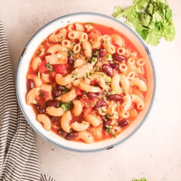 top down view of the finished instant pot minestrone recipe