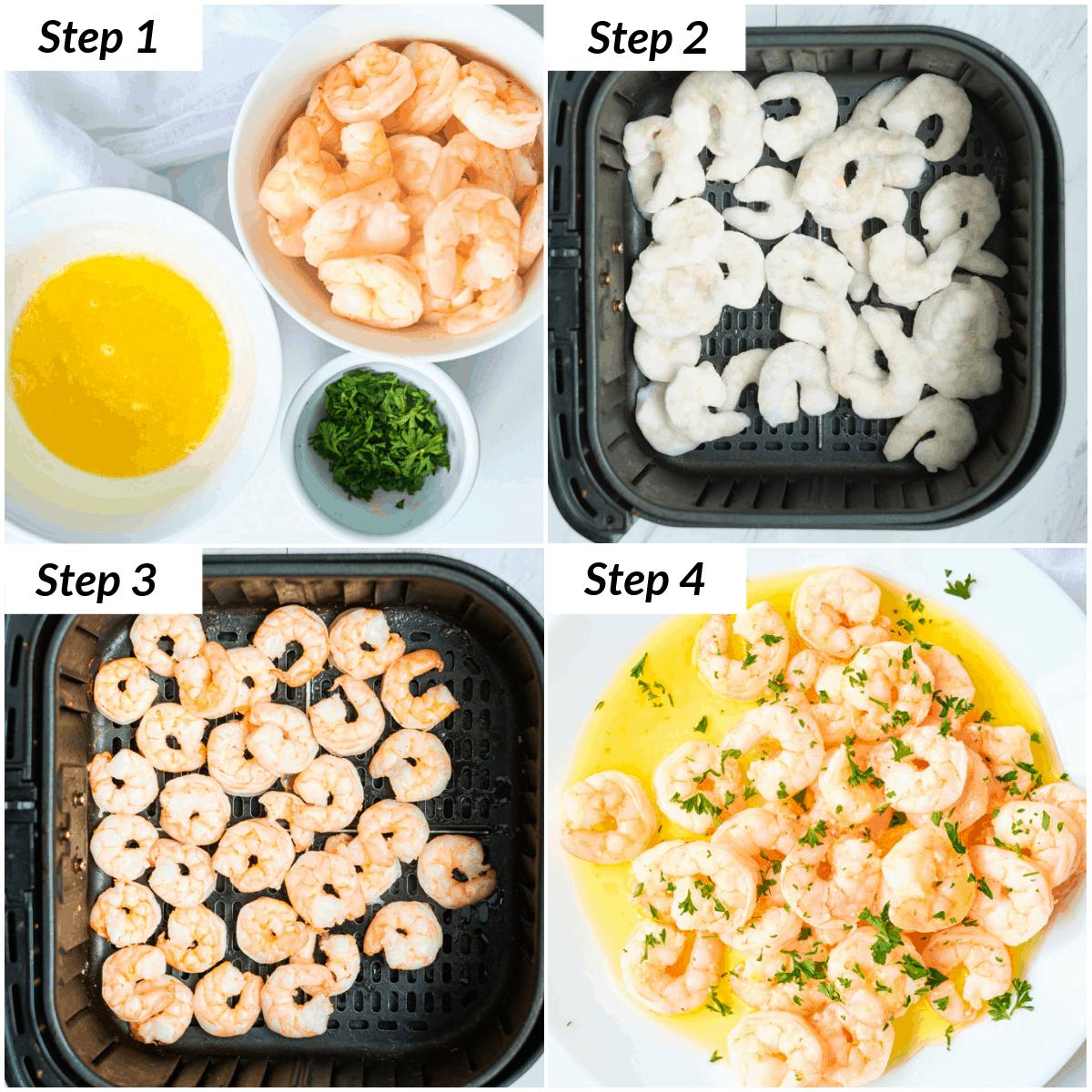 image collage showing the steps for making aier fryer garlic butter shrimp