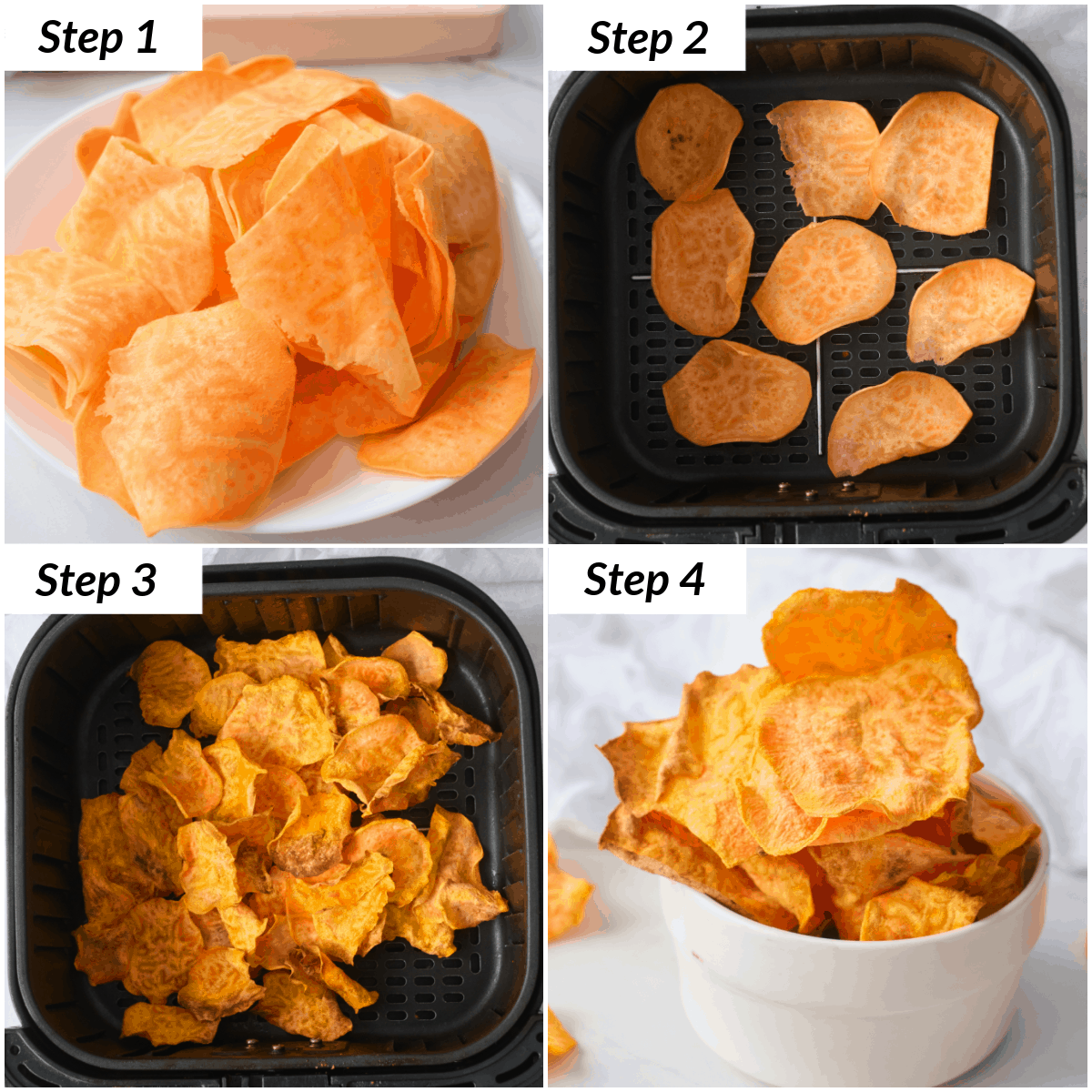image collage showing the steps for making sweet potato chips air fryer recipe