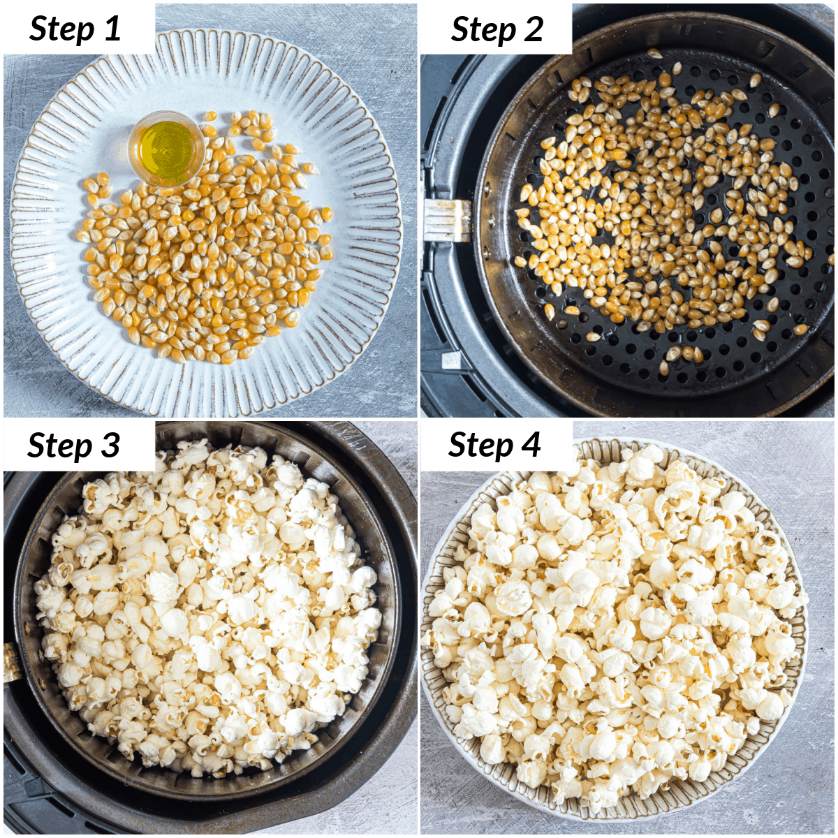 image collage showing the steps for making popcorn in air fryer
