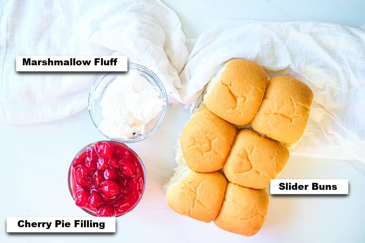 the ingredients needed for making cherry pie sliders