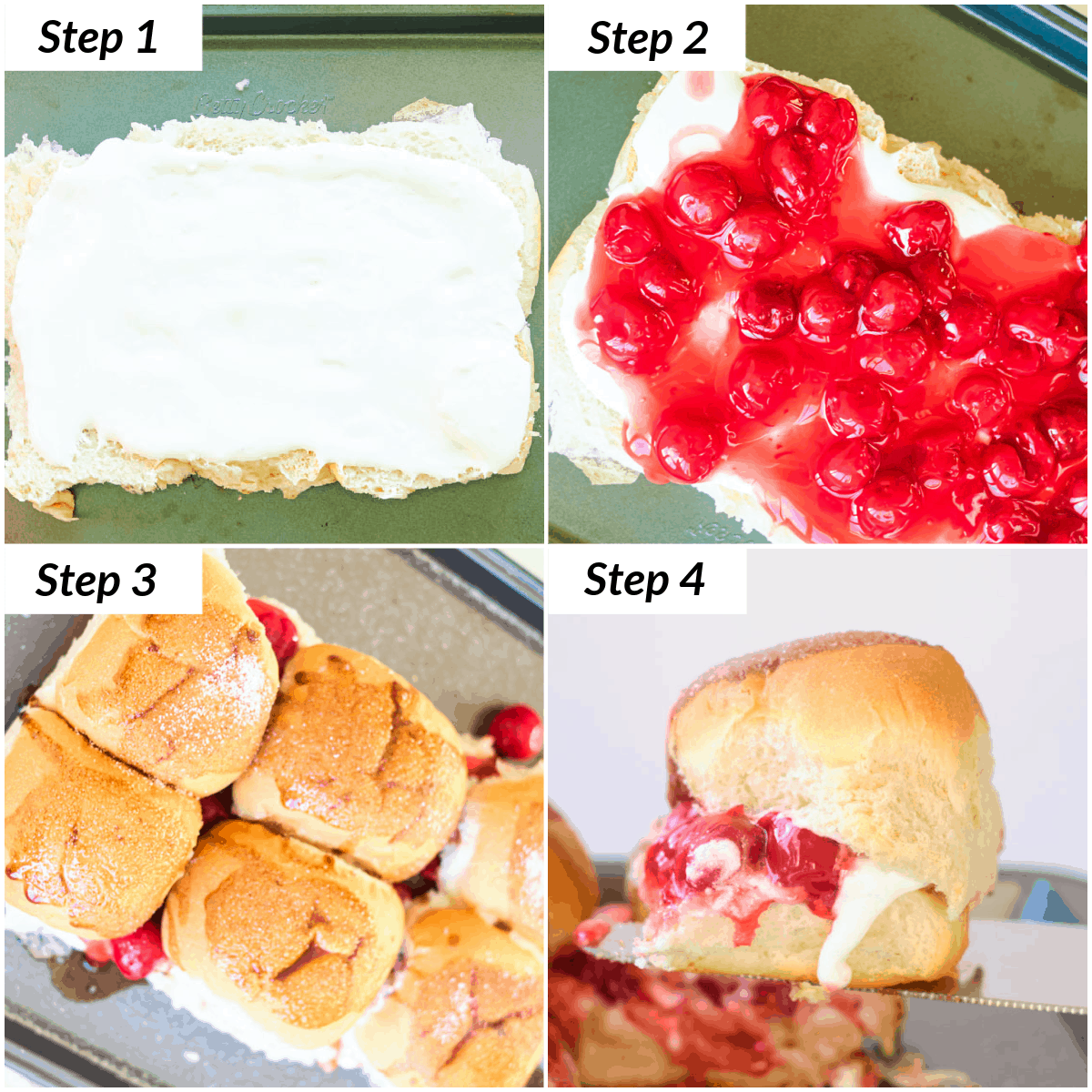 image collage showing the steps for making cherry pie sliders