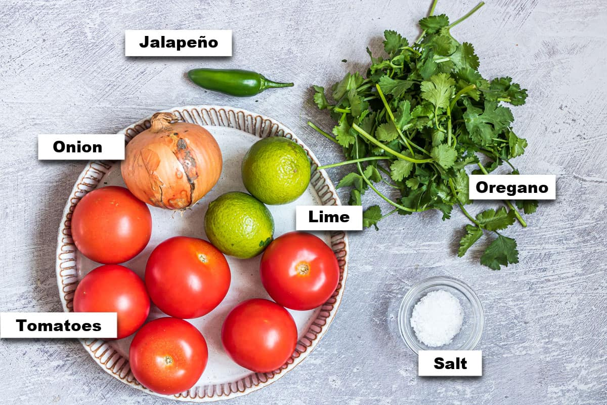 the ingredients needed for making Chipotle copycat pico de gallo