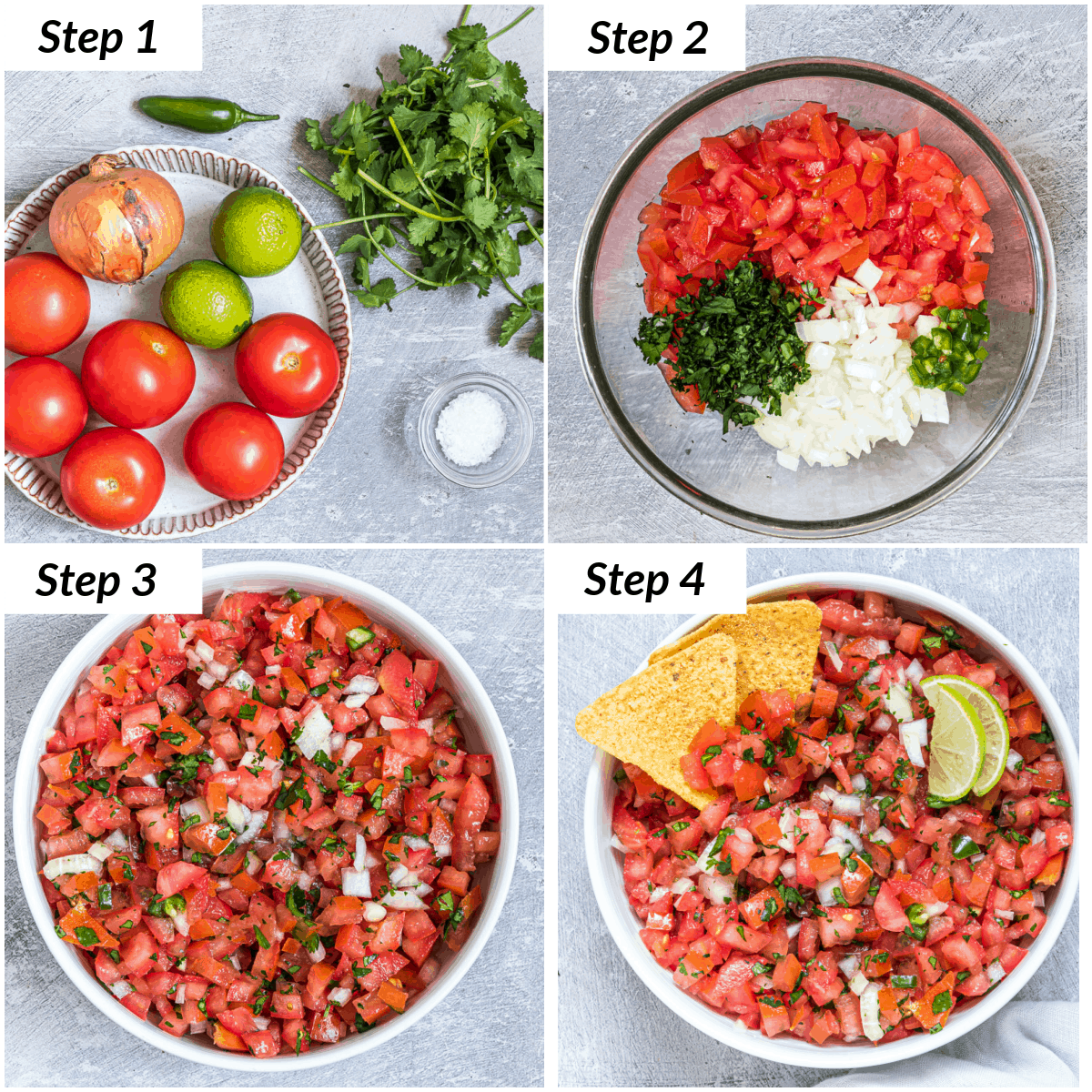 image collage showing the steps for making pico de gallo salsa
