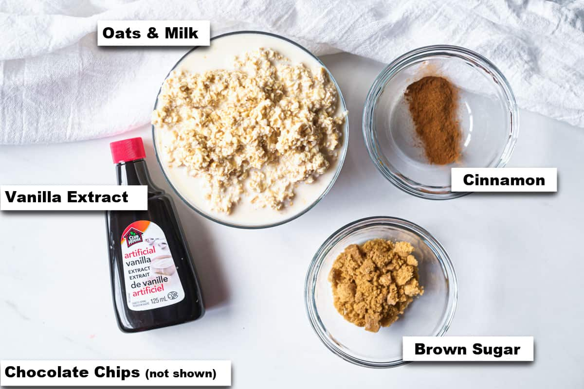 the ingredients needed for making cookie dough overnight oats