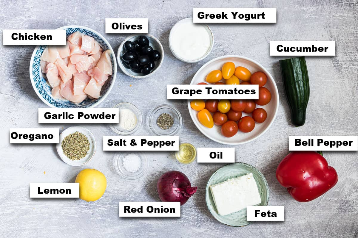 the ingredients needed for making greek chicken meal prep bowls