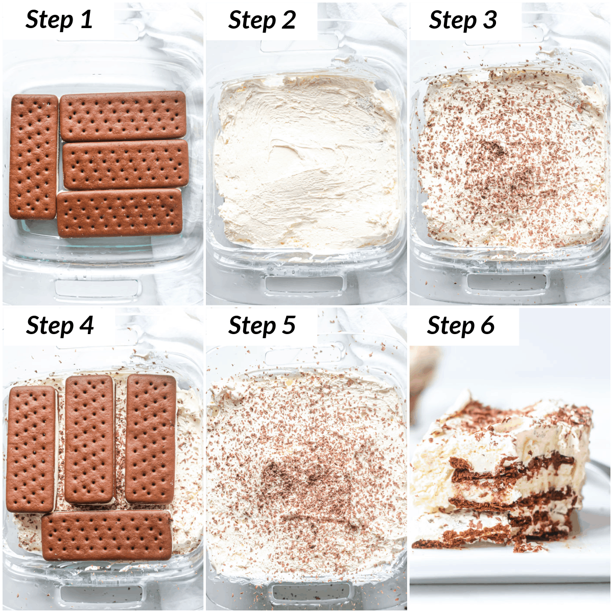 image collage showing the steps for making ice cream sandwich cake