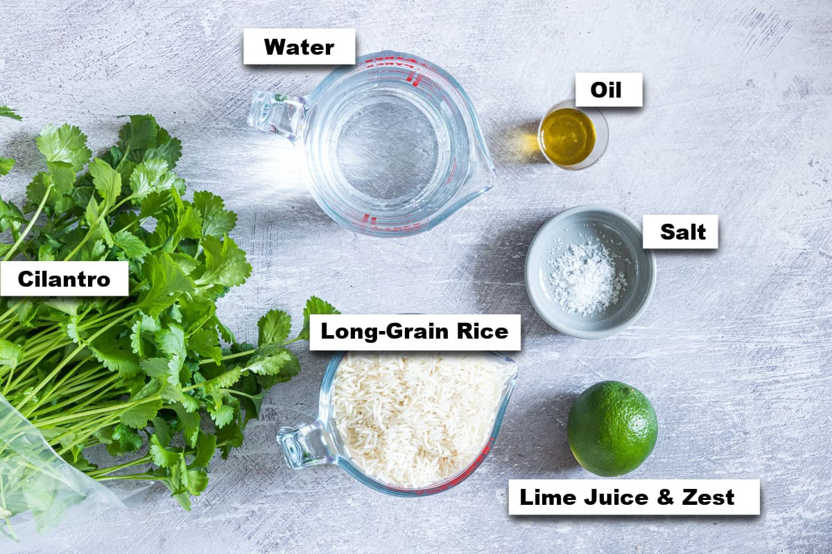 the ingredients needed for making cilantro lime rice instant pot