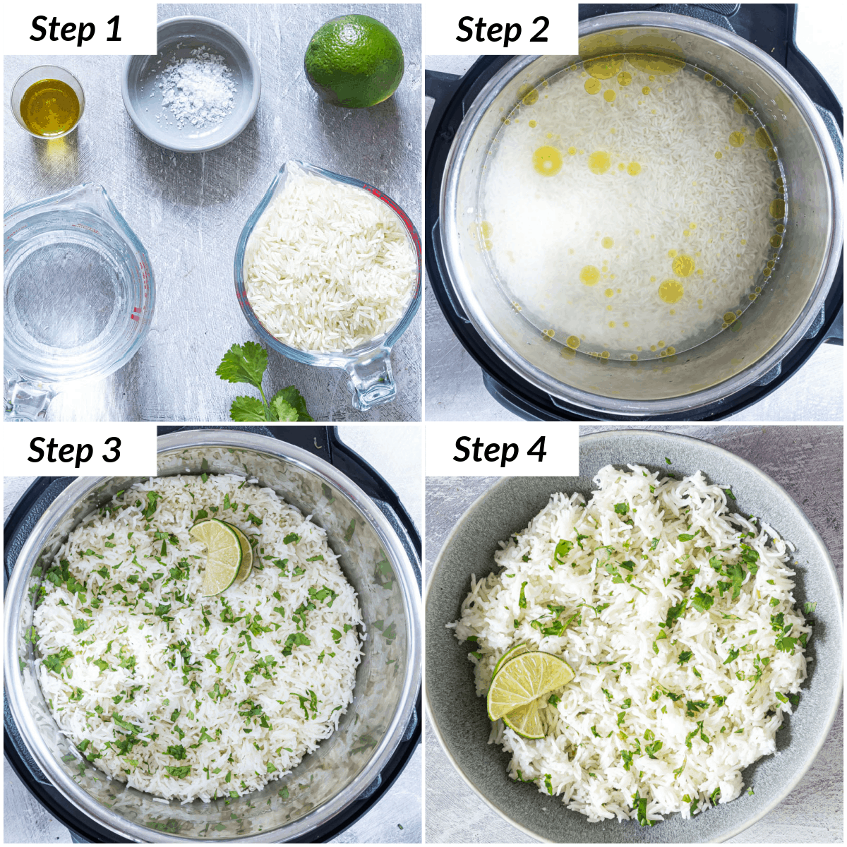 image collage showing the steps for making instant pot cilantro lime rice