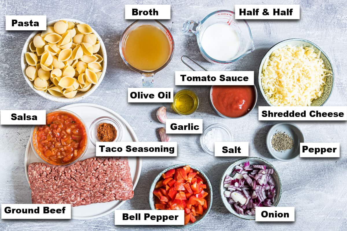 the ingredients needed for making this instant pot taco pasta recipe