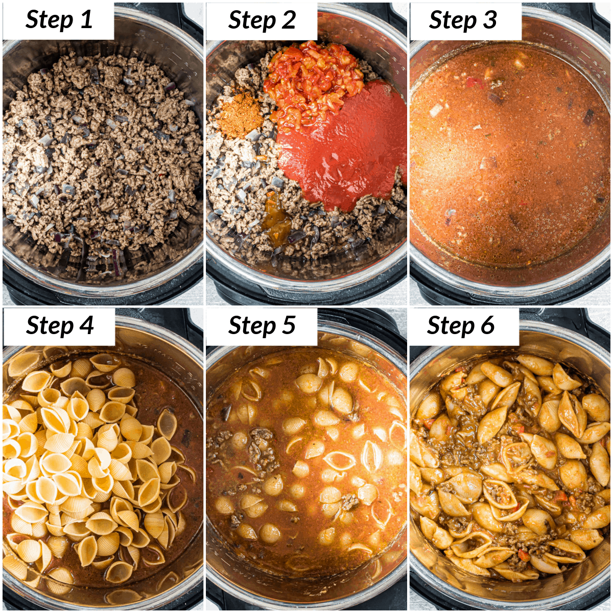 image collage showing the steps for making taco pasta instant pot recipe