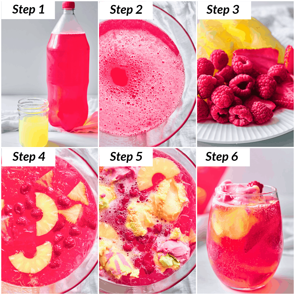 image collage showing the steps for making rainbow sherbet punch