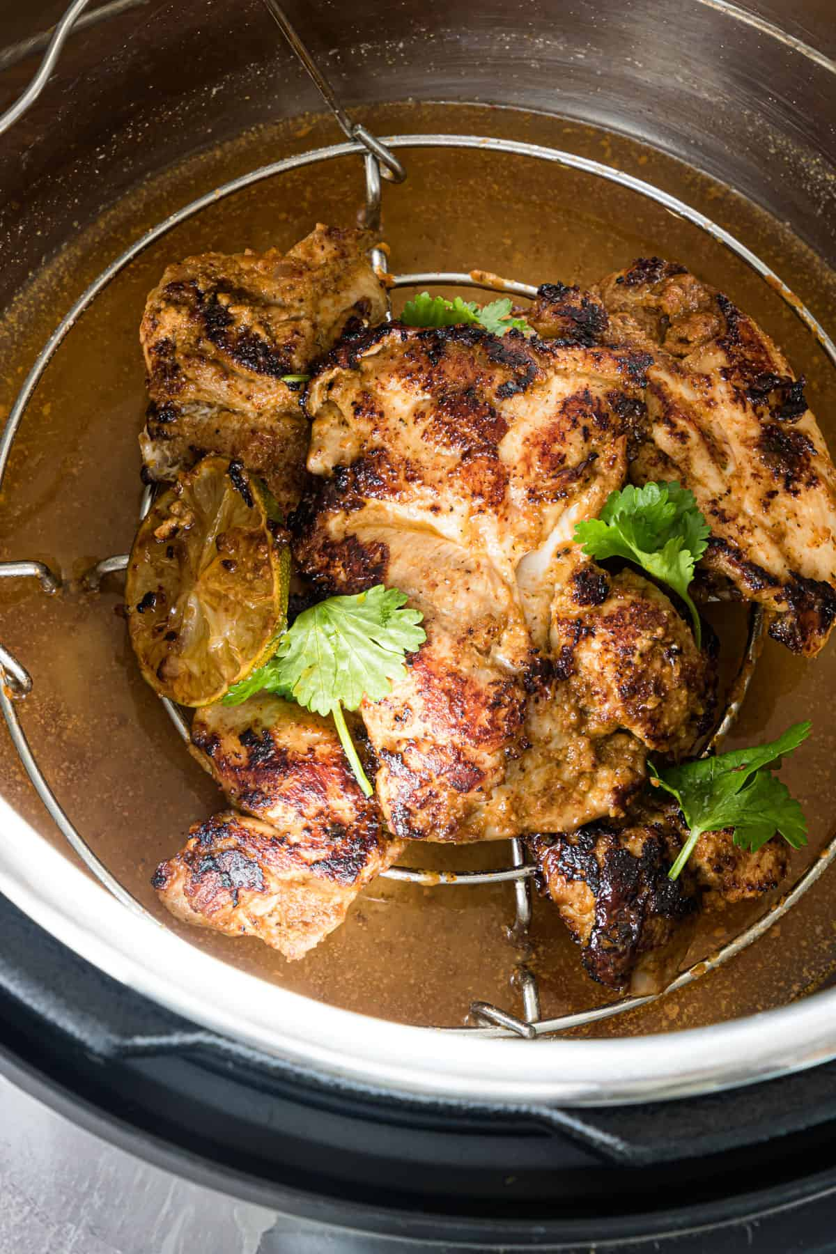 Cooked Instant Pot Chipotle Chicken In a pressure cooker