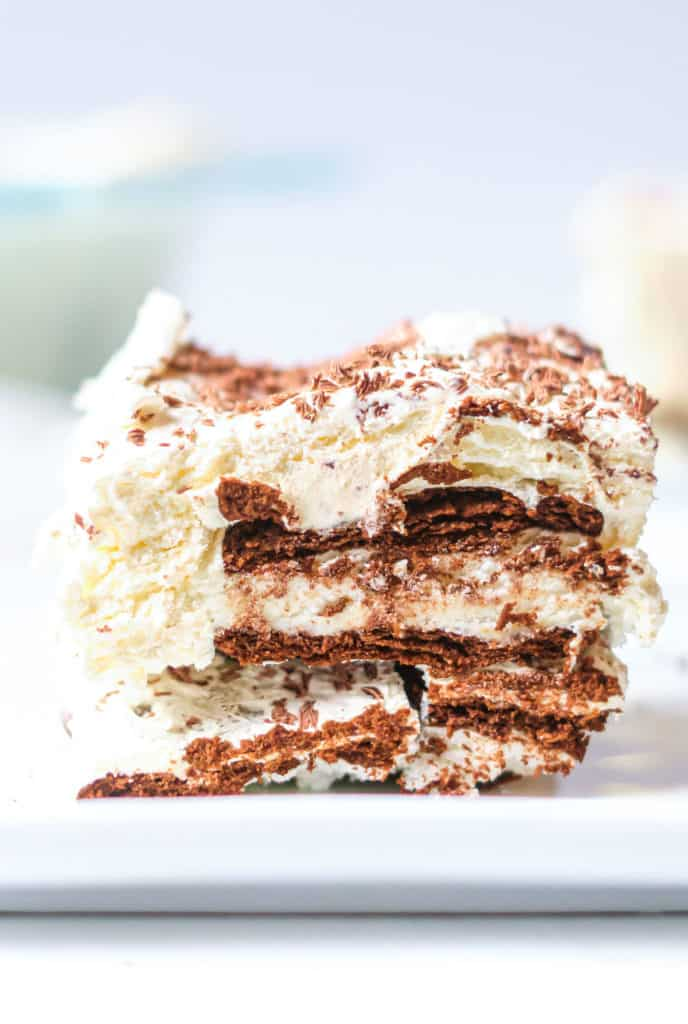 a slice of ice cream sandwich cake on a table