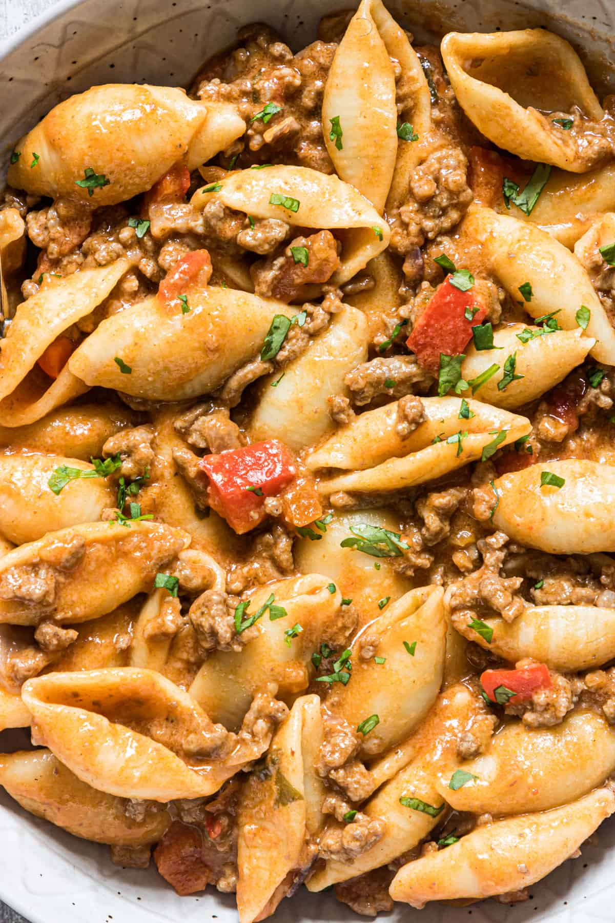 close up view of the completed taco pasta instant pot recipe
