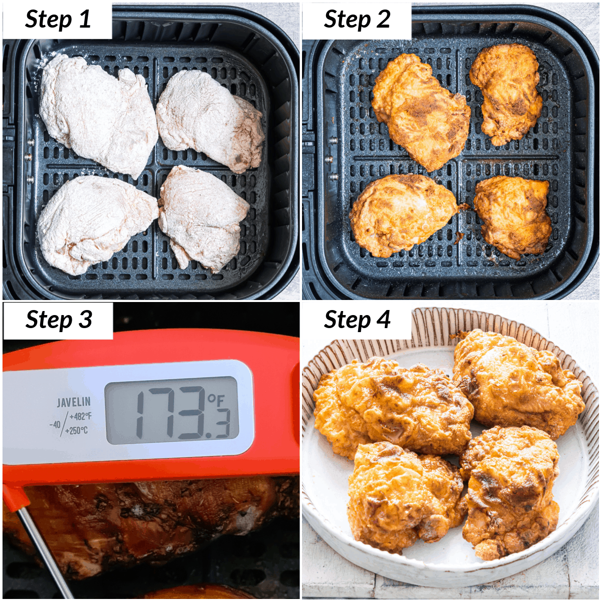 image collage showing the steps for making fried chicken in air fryer