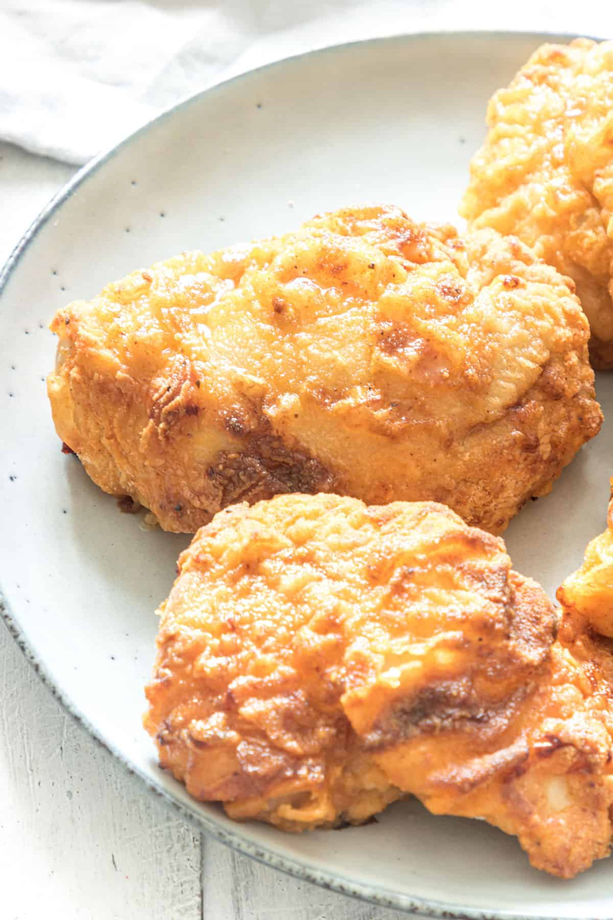 close up view of the completed air fryer fried chicken recipe