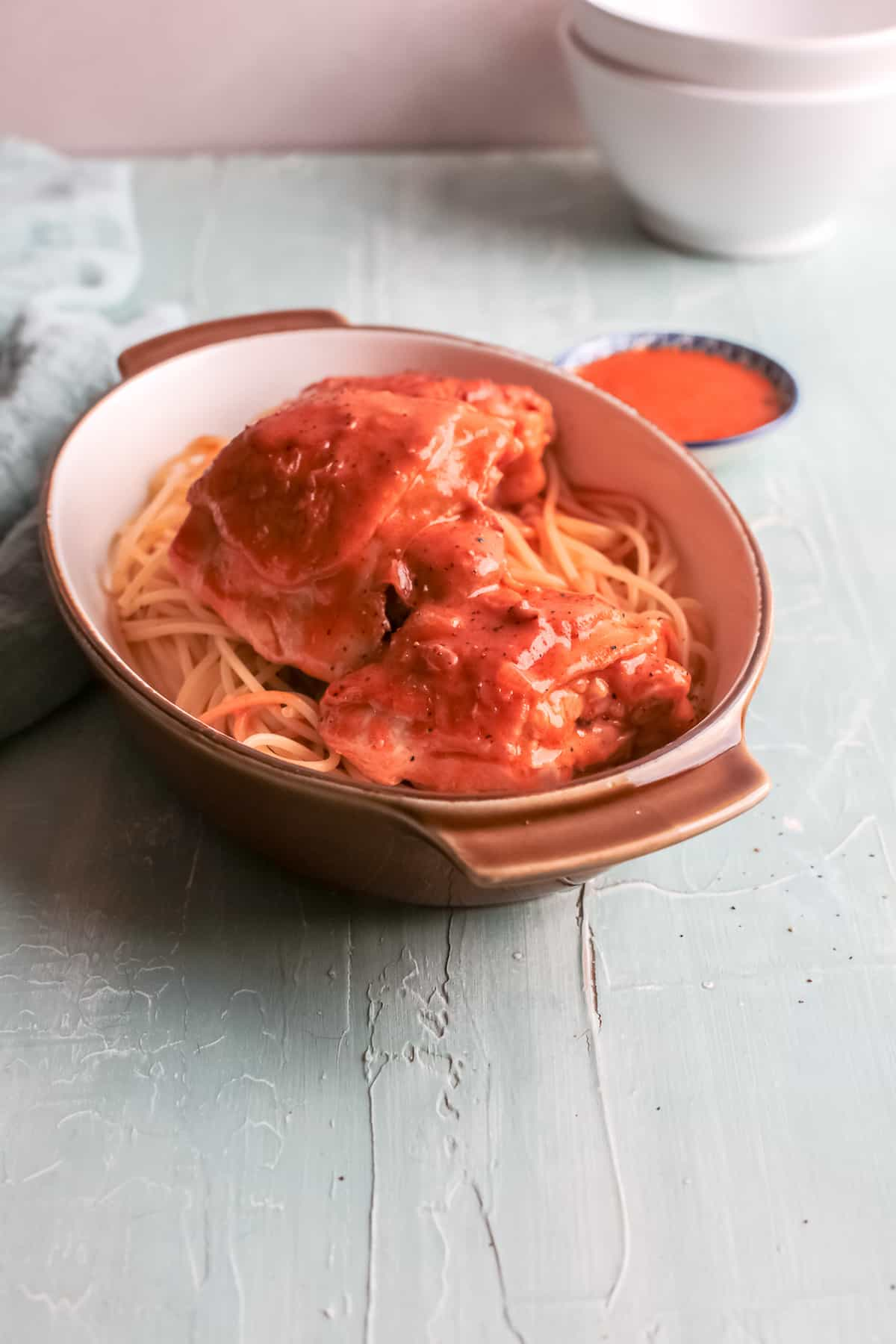 the instant pot chicken paprikash ready to be served