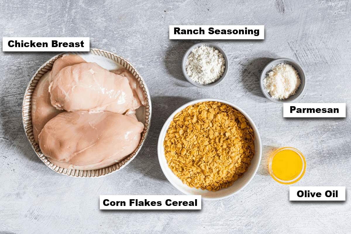 the ingredients needed for making baked ranch chicken