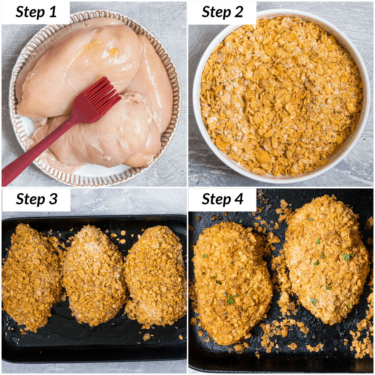 image collage showing the steps for making ranch chicken