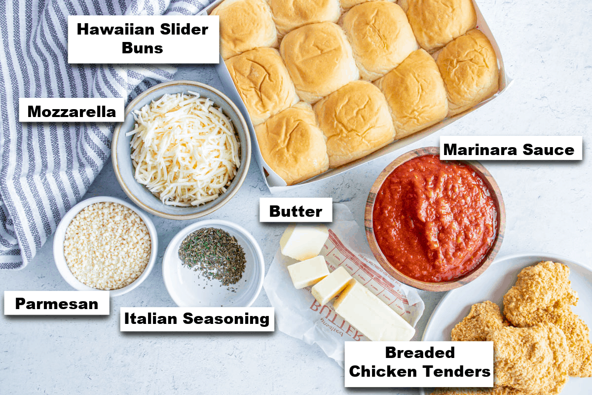 the ingredients needed for making chicken parmesan sliders