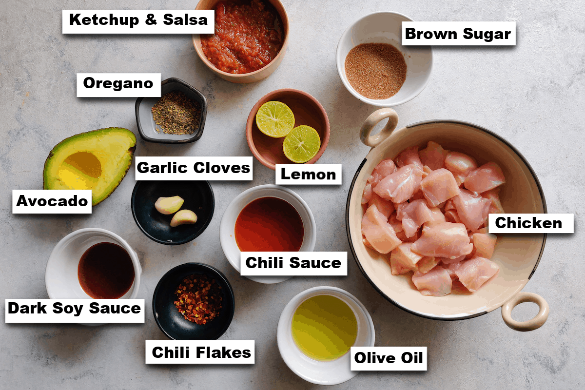 the ingredients for making chicken satay with avocado sauce