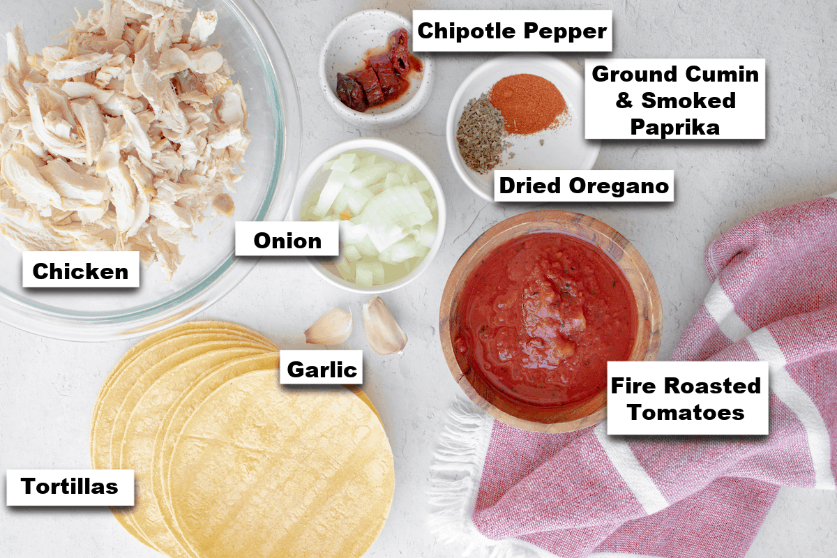 the ingredients needed for making this chicken tinga recipe