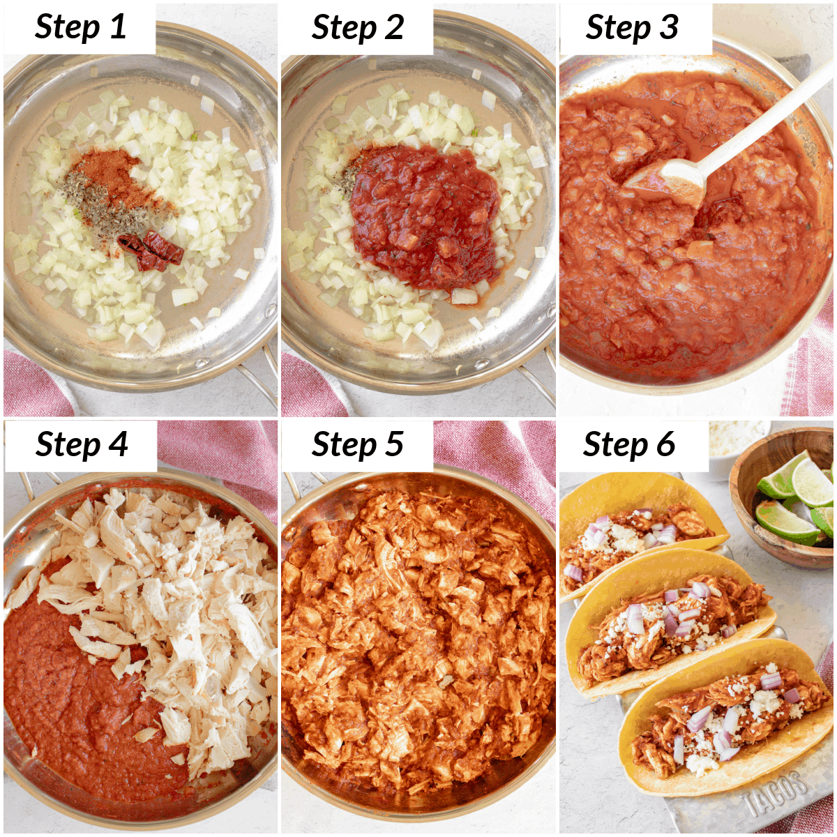 image collage showing the steps for making chicken tinga tacos