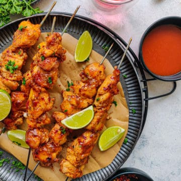 the completed chicken satay recipe ready to be served