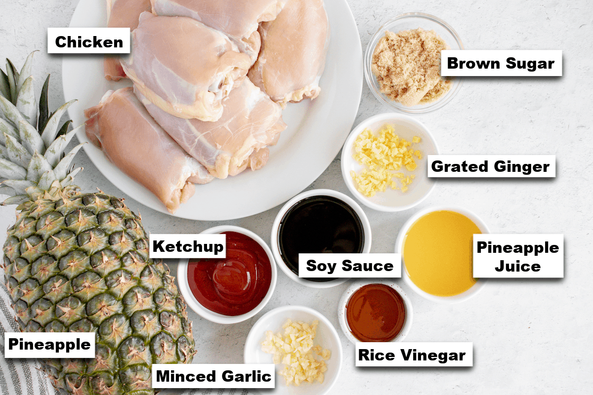 the ingredients needed for making grilled huli huli chicken