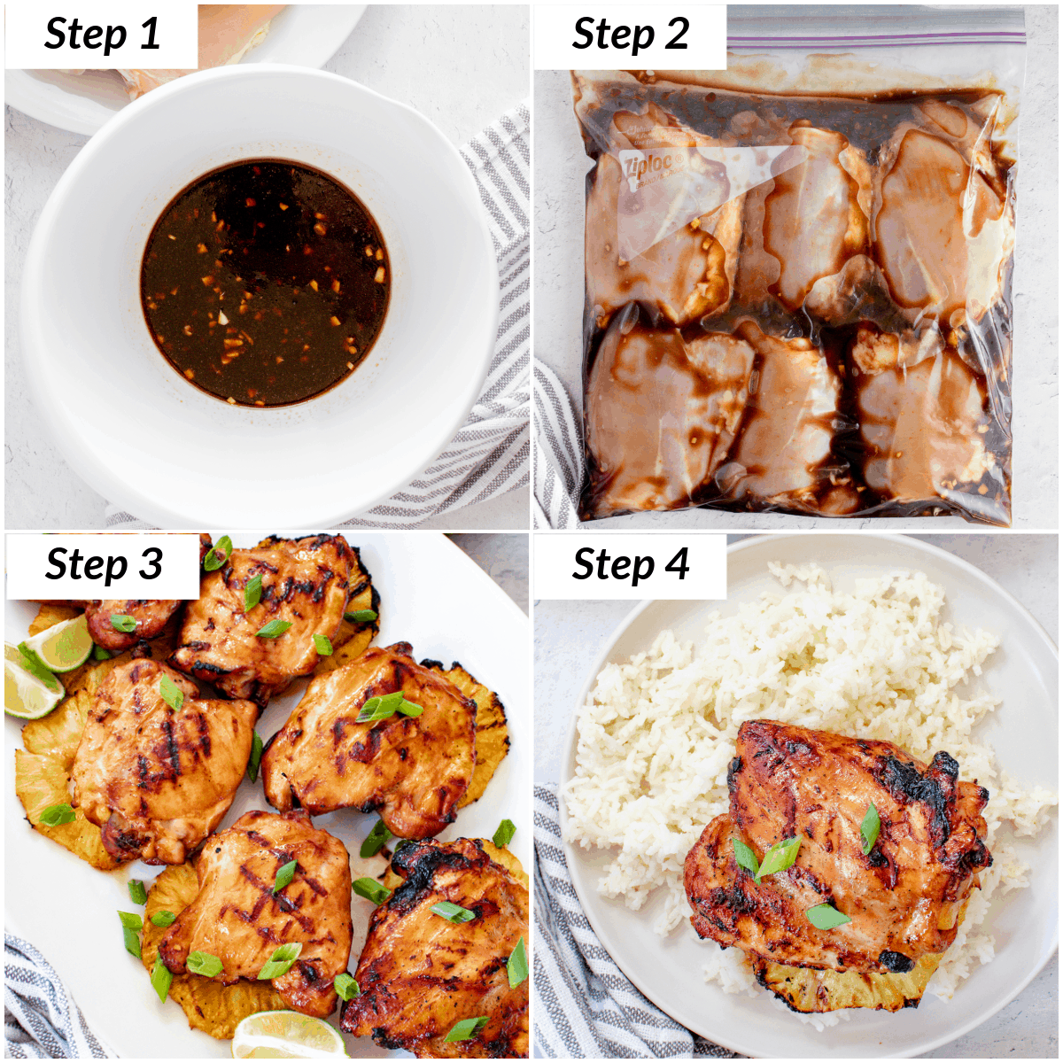 image collage showing the steps for making huli huli chicken