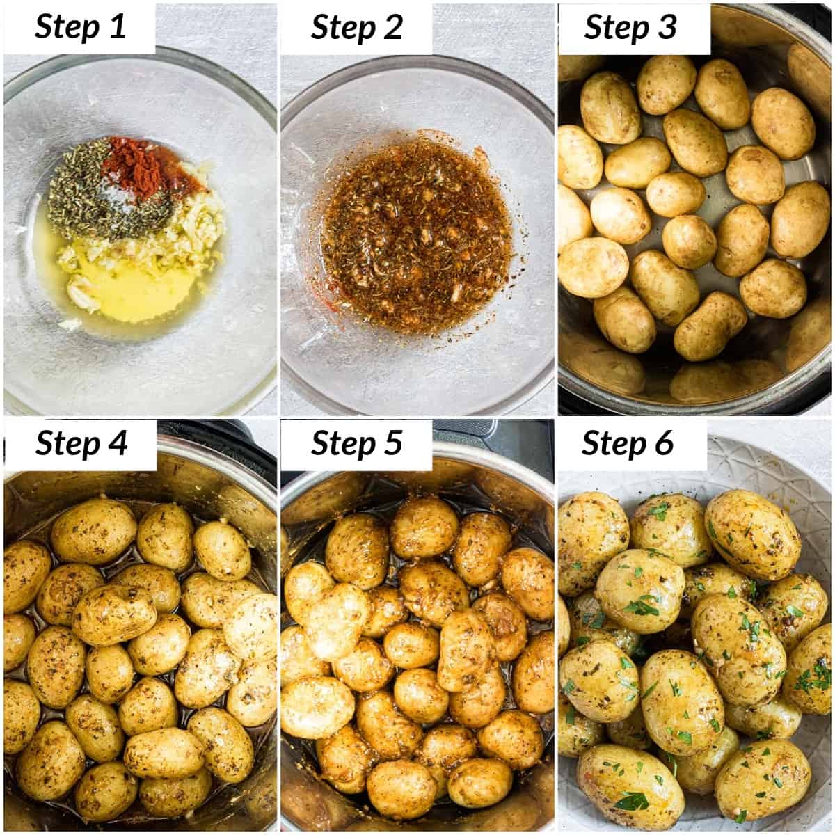 image collage showing the steps for making instant pot baby potatoes
