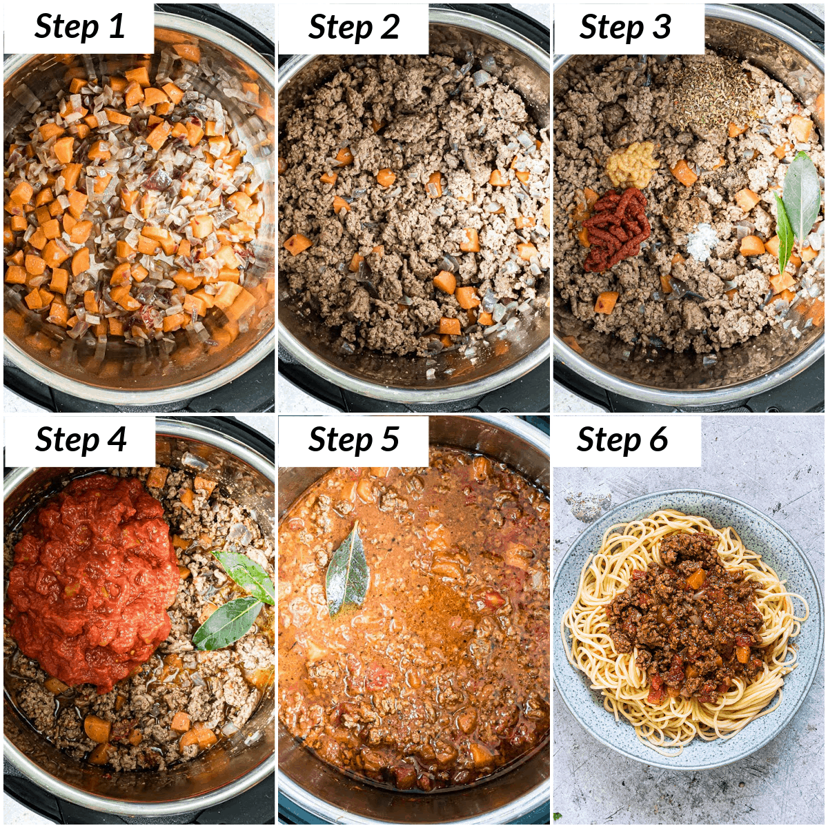image collage showing the steps for making instant pot bolognese sauce