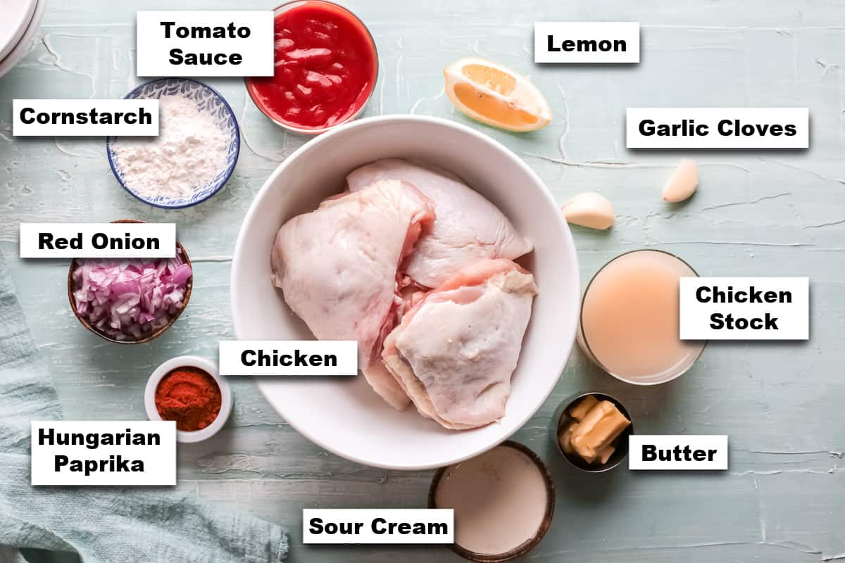 the ingredients needed for making this chicken paprikash instant pot recipe