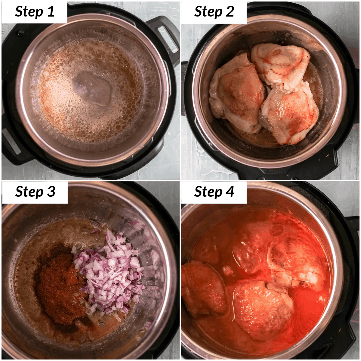 image collage showing the steps for making instant pot chicken paprikash
