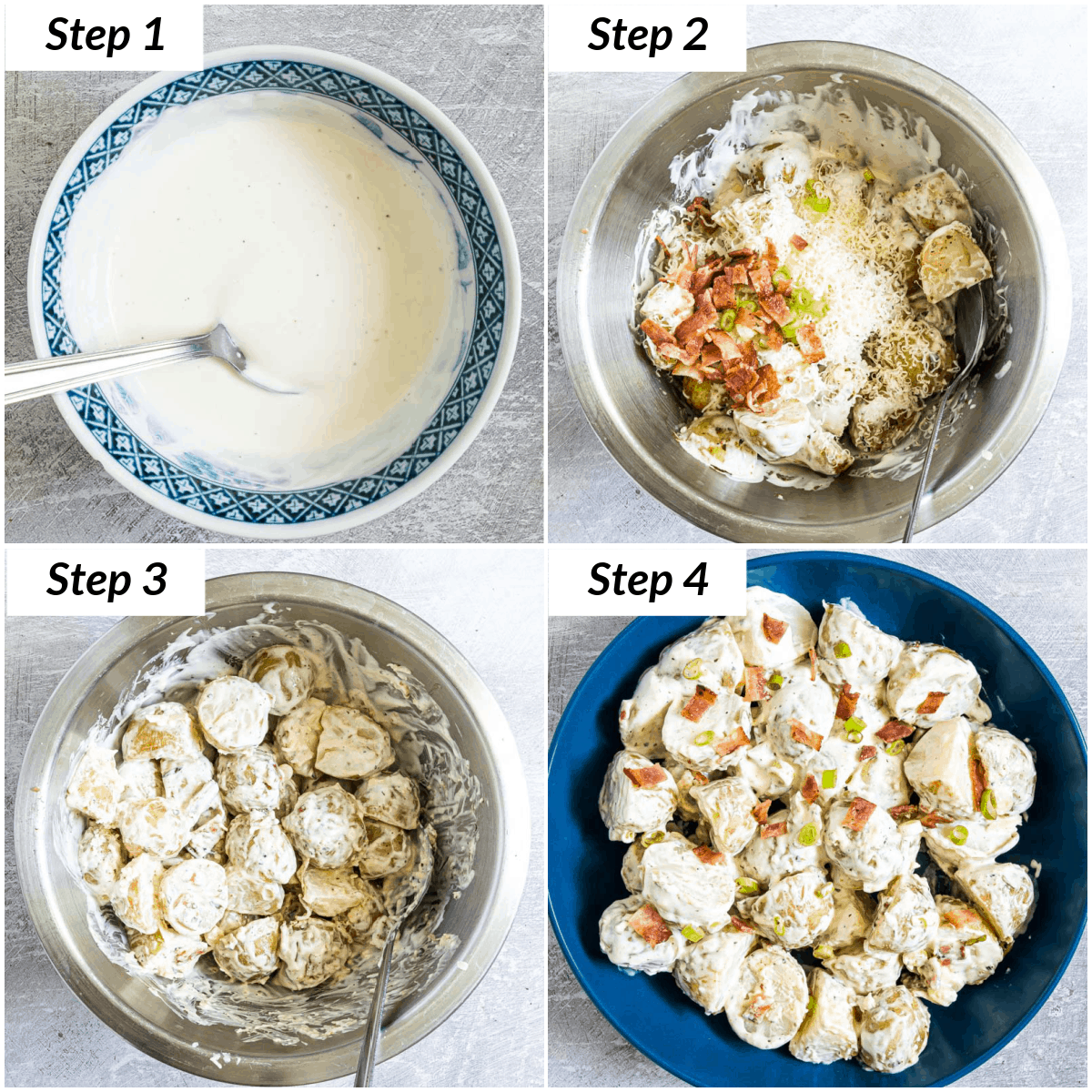 image collage showing the steps for making loaded ranch potato salad