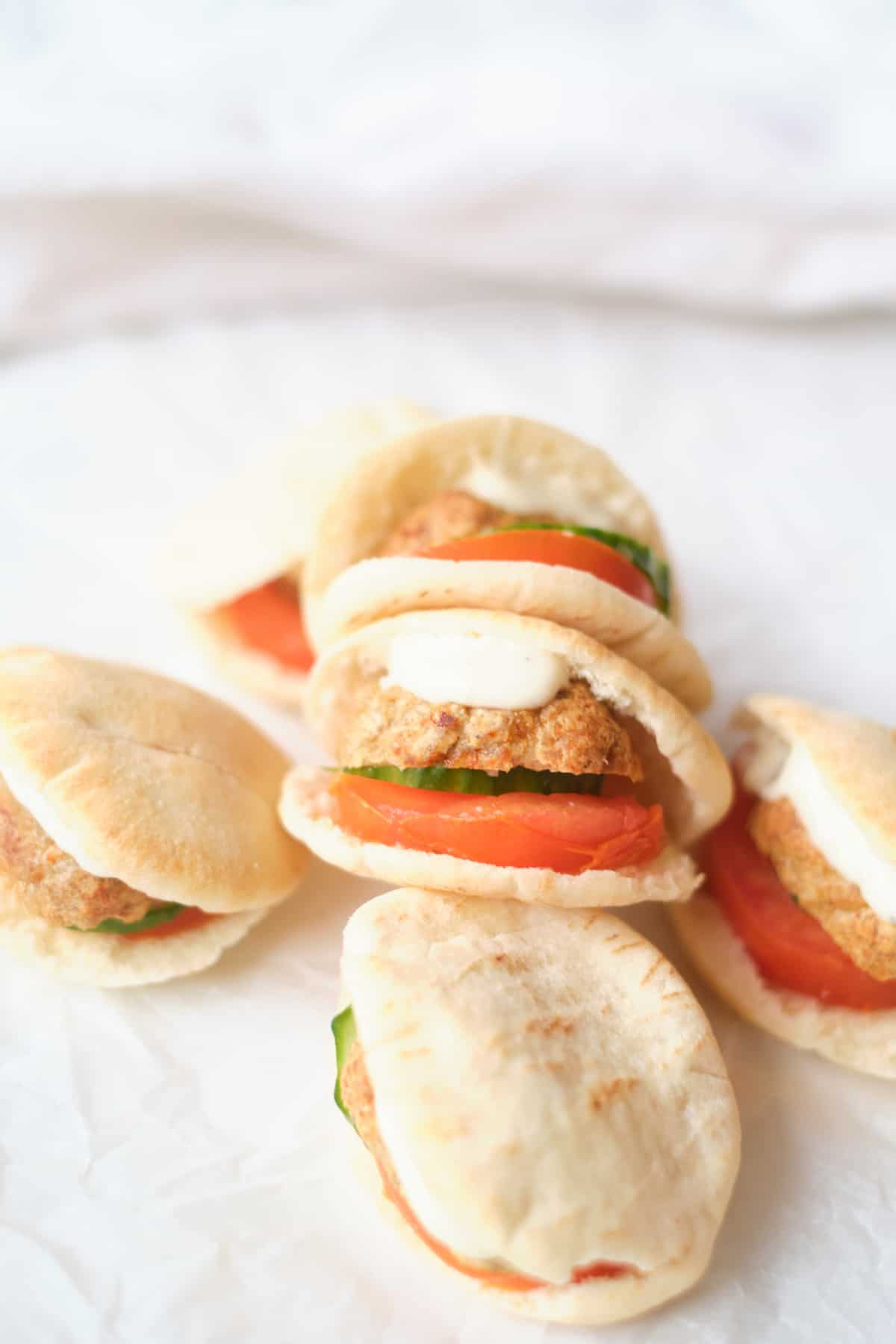 five of the finished meatball pita pockets