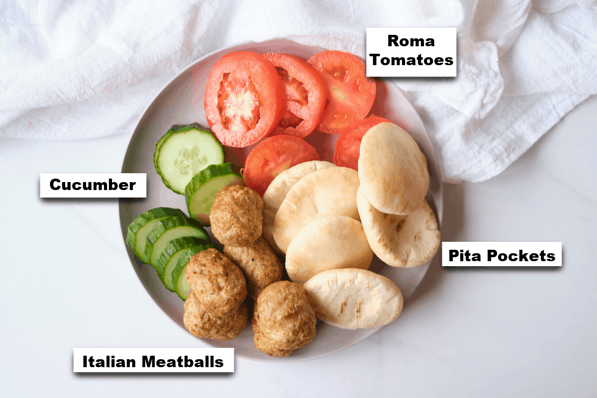 the ingredients needed for making meatball stuffed pita