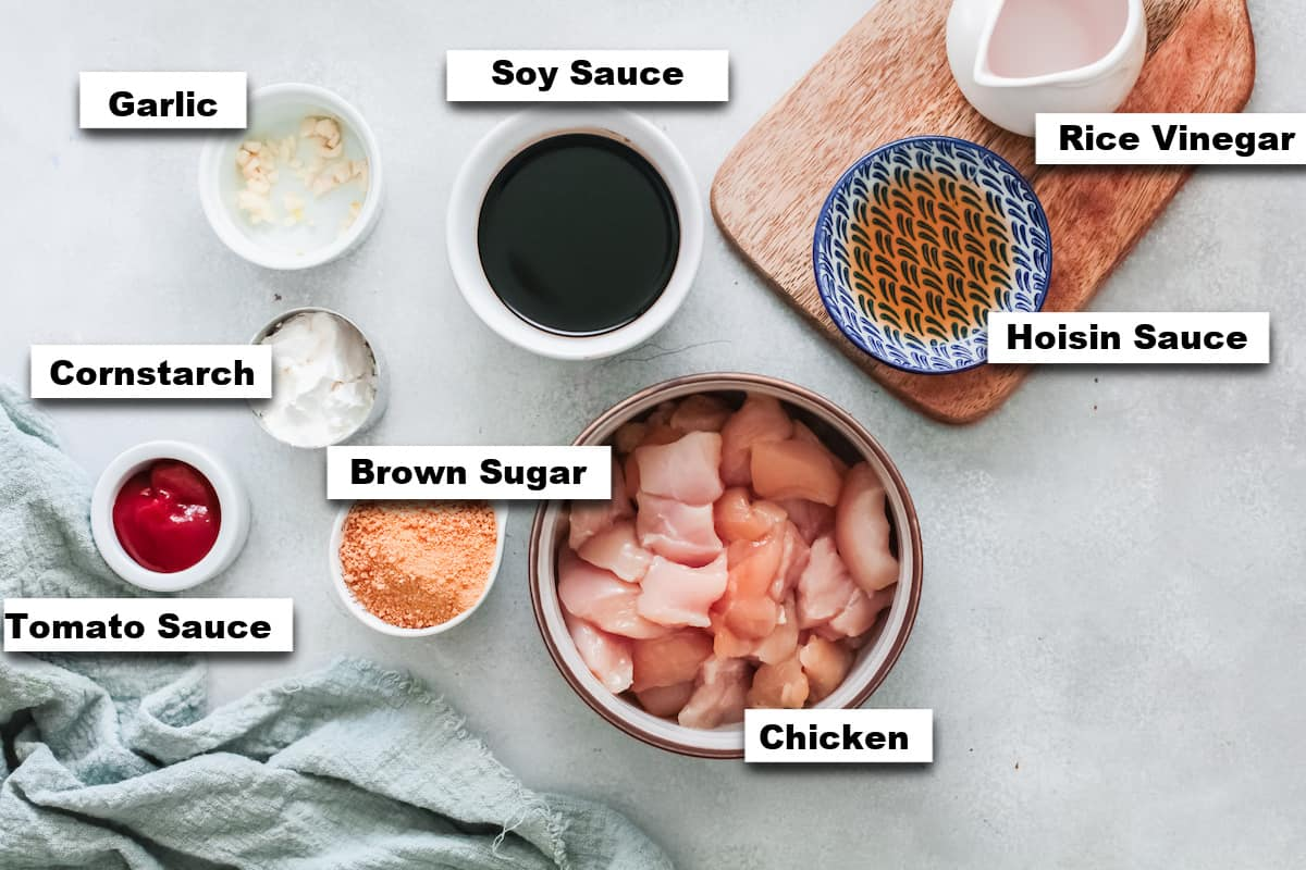 the ingredients needed for making air fryer general tsos chicken