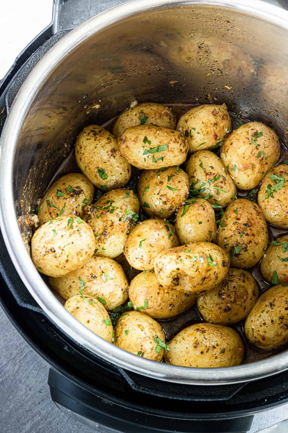 top down view of the cooked baby potatoes instant pot