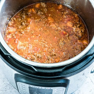 top down view of the completed bolognese sauce inside theinstant pot