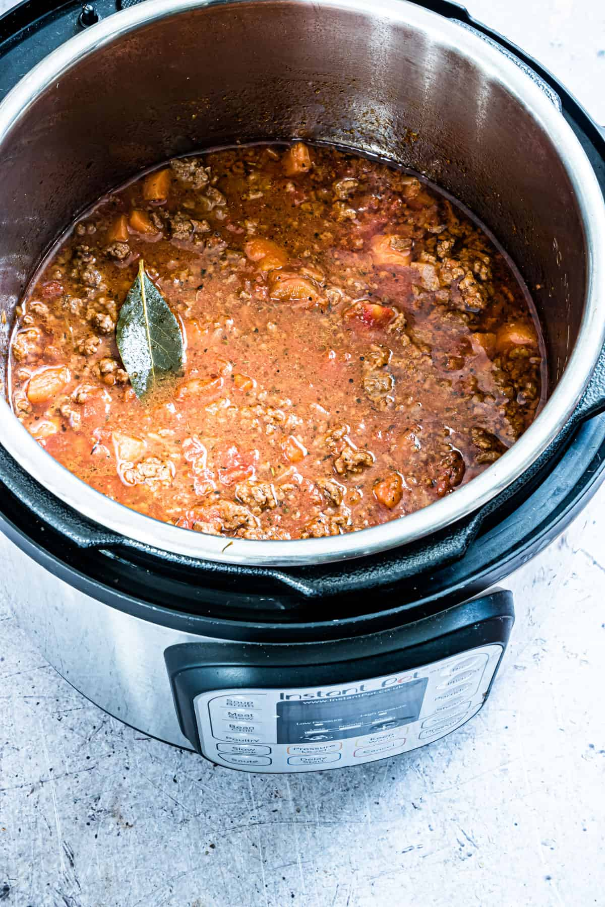 the completed bolognese sauce recipe inside the instant pot