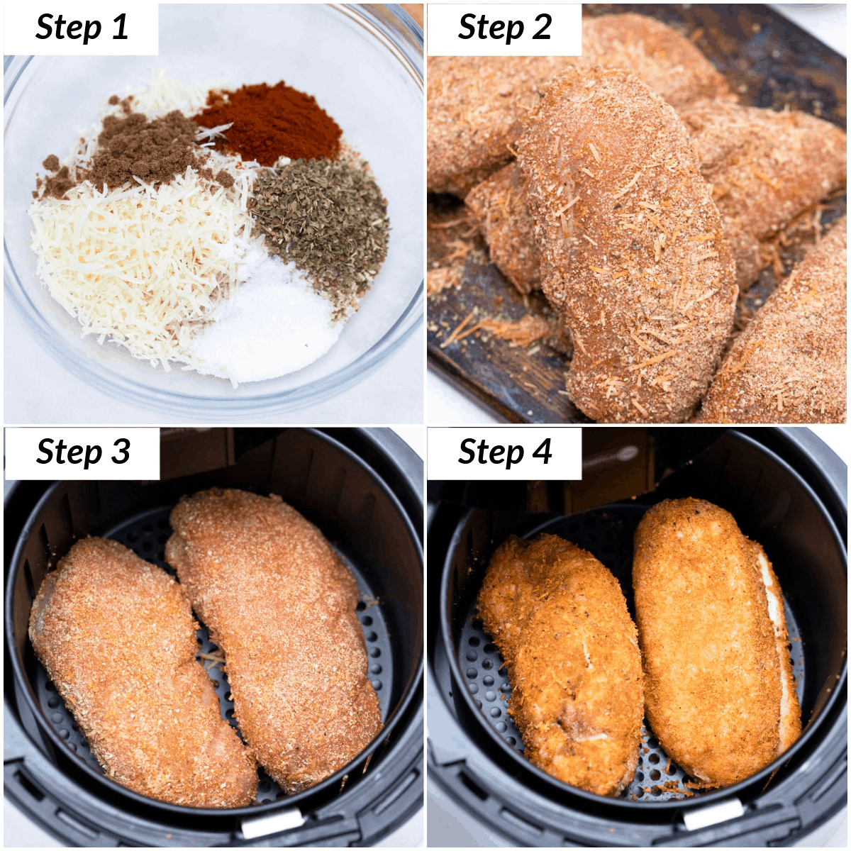image collage showing the steps for making chicken breast in air fryer