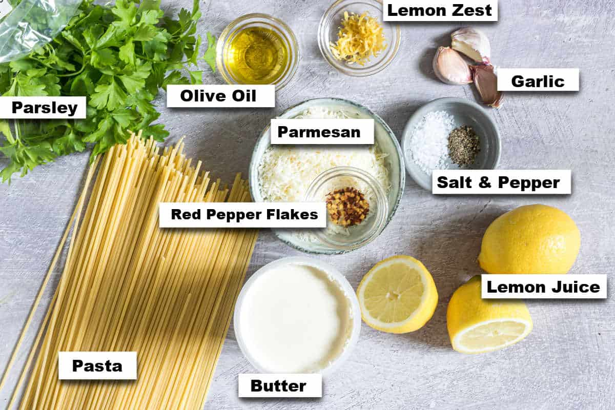 the ingredients needed for making garlic butter pasta
